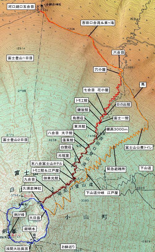 河口湖口登山道コース地図